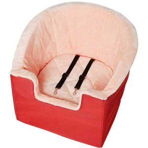 red dog booster seat with plush pink interior
