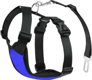 dark blue dog harness with seat belt attachment