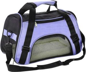 light blue soft dog transport carrier